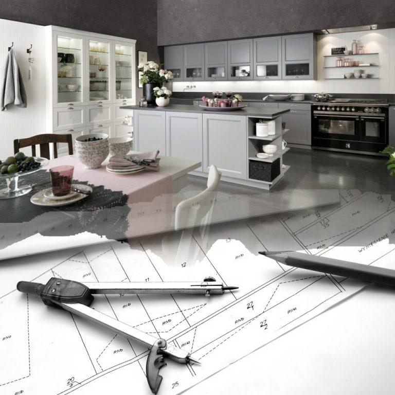 Werbebild mit Küche und Zirkel